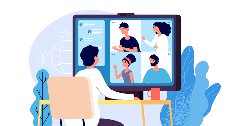 animated picture of people on a video conference call