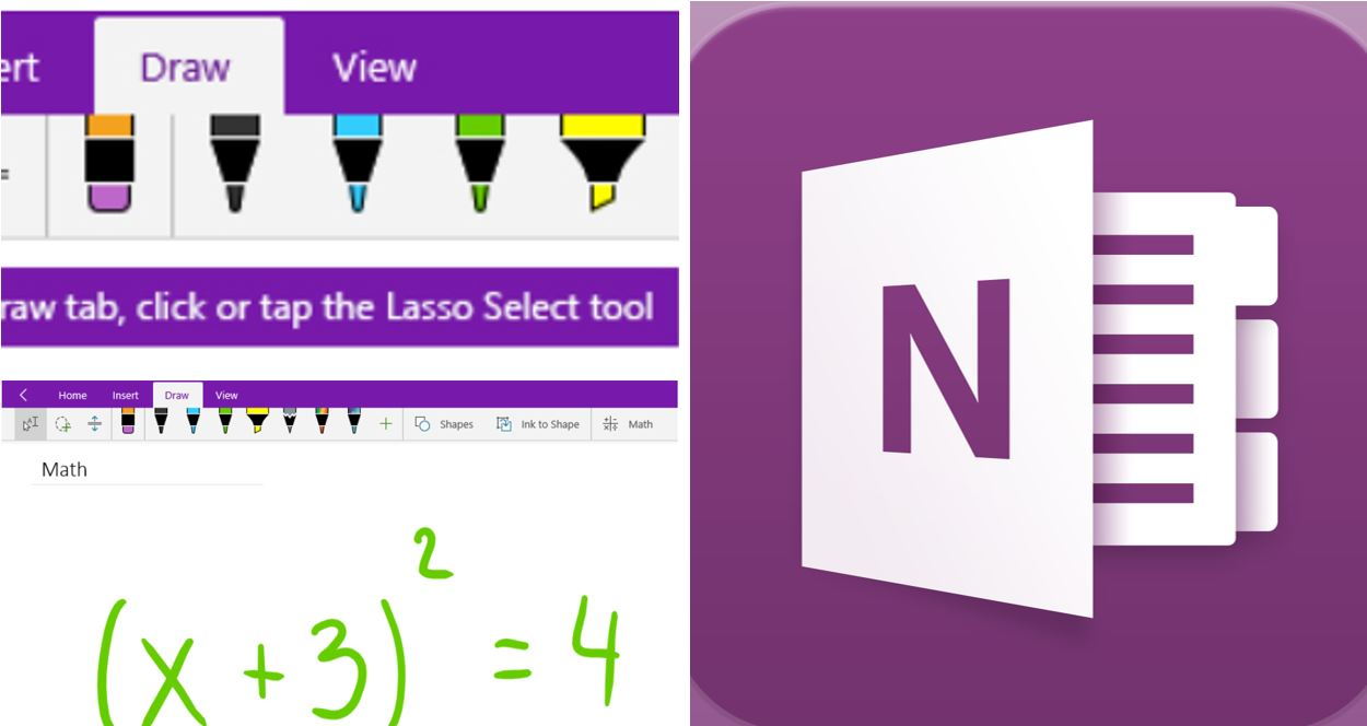 Showing the draw tab on OneNote
