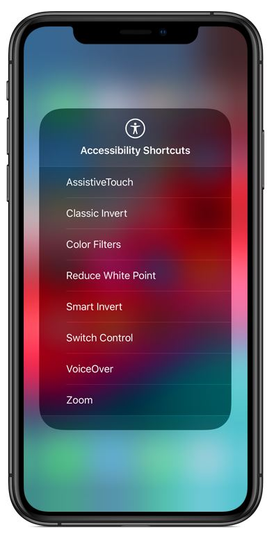 an iPhone which shows accessibility shortcuts on the screen