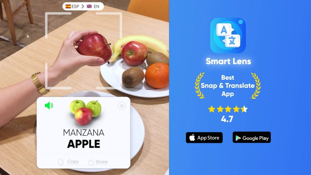 snapping the apple picture on the table with smatlens app and translate